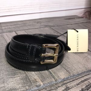 Burberry Kessock Patent Leather Skinny Belt NWT